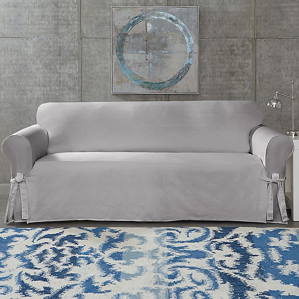 SUREFIT Cotton Canvas Wrinkle Resistant Sofa Slipcover in