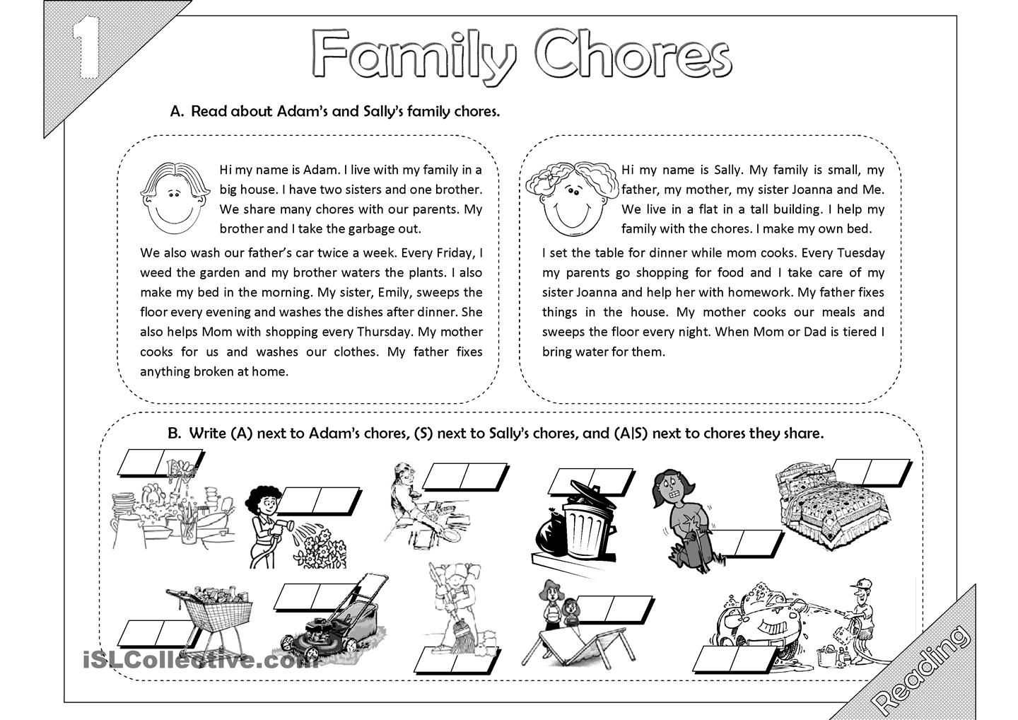 Family Chores Reading 2 Pages
