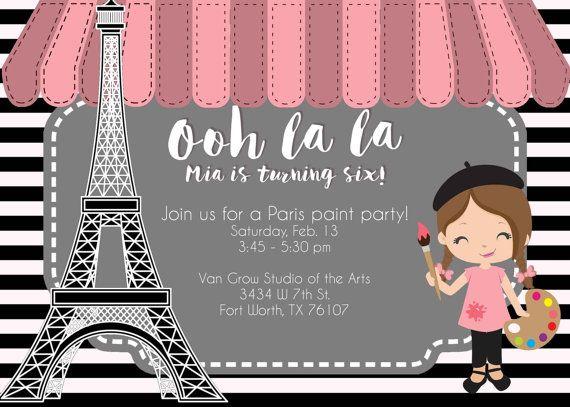 Paris Paint Birthday Party Invitation Eiffel Tower Invite In 2019