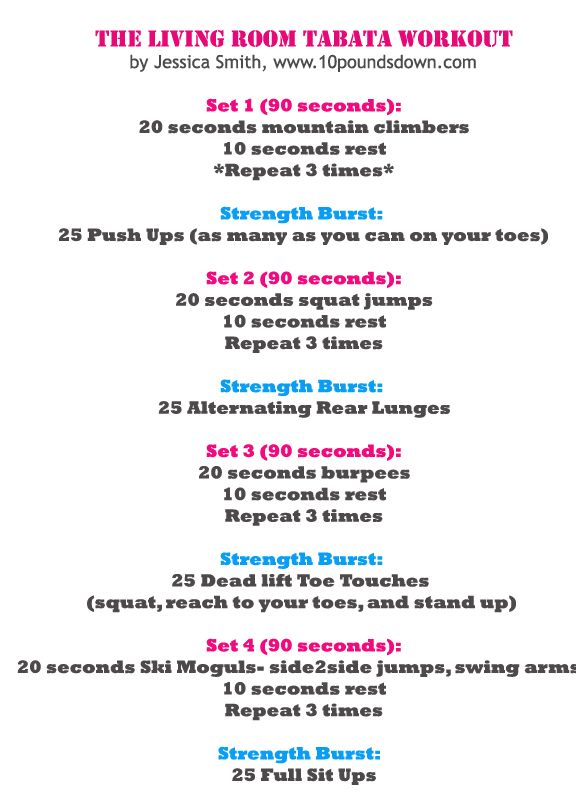 From the Community: Living Room Tabata Workout | Tabata, Workout and ...