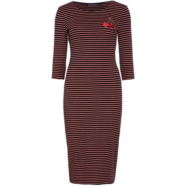Sugarhill Boutique Cherry Bomb Dress ($39) ❤ liked on Polyvore featuring dresses, black, clearance, bodycon dress, three quarter sleeve dress, coral midi dress, knee-length dresses and striped bodycon dress