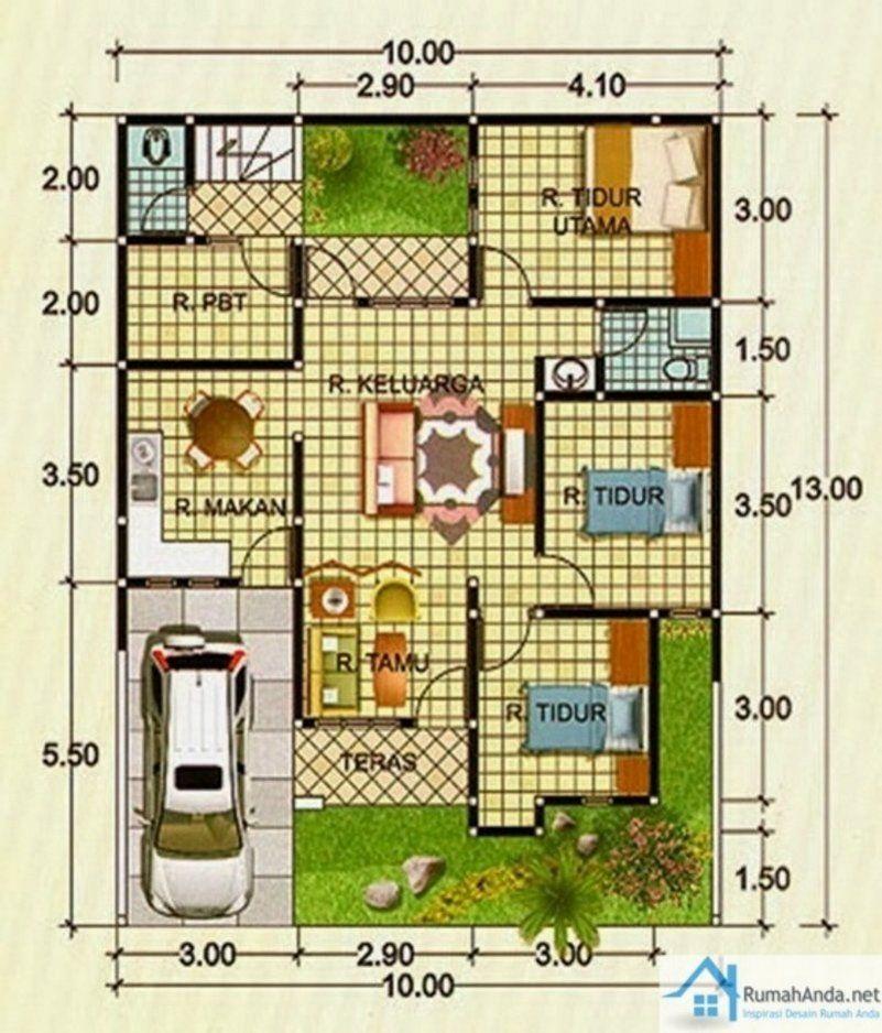 Denah Rumah Ukuran 9x9 M 1 2 Lantai 2 | Denah Rumah, Rumah Minimalis,  Desain Rumah