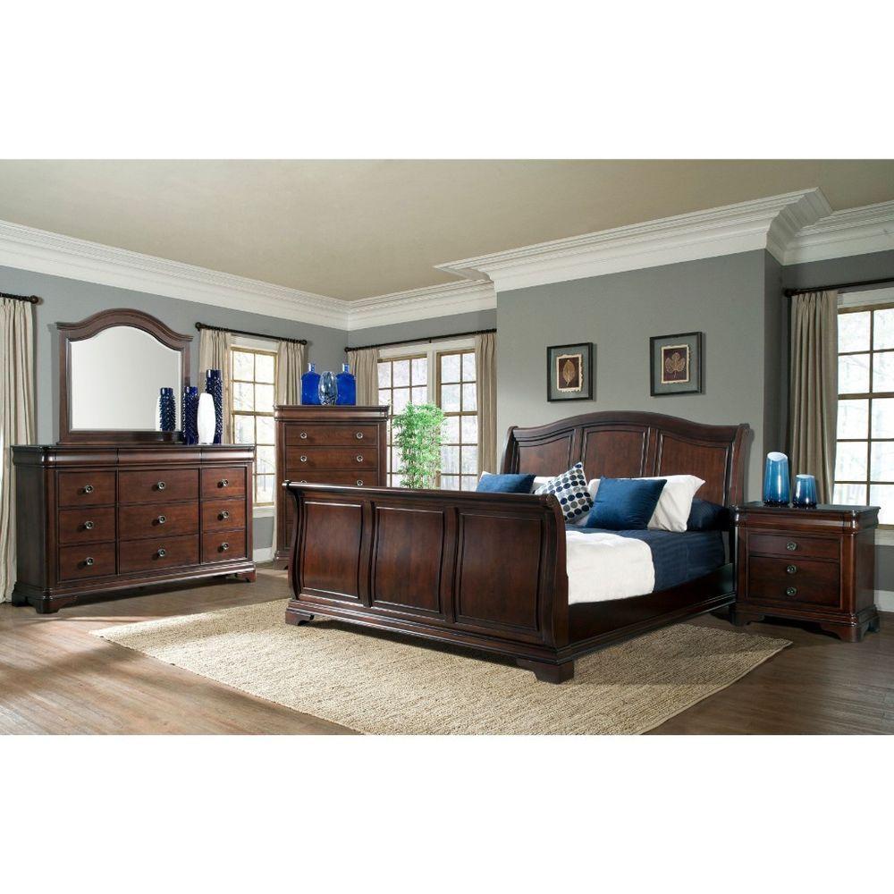 Best Large King Sleigh Bedroom Set Cherry Furniture Bed Dresser 400 x 300