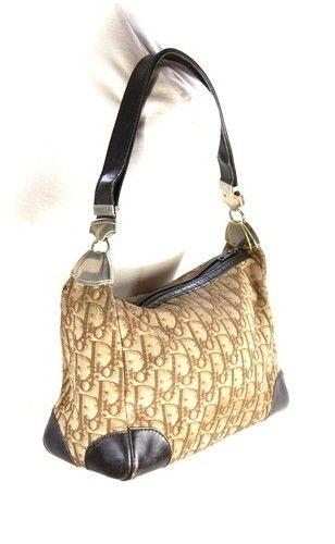 Vintage Authentic Dior Brown Logo Shoulder Bag Satchel Handbag Purse Ebay