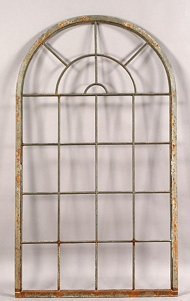 525 Vintage Iron Arched Top Palladian Window Frame On A