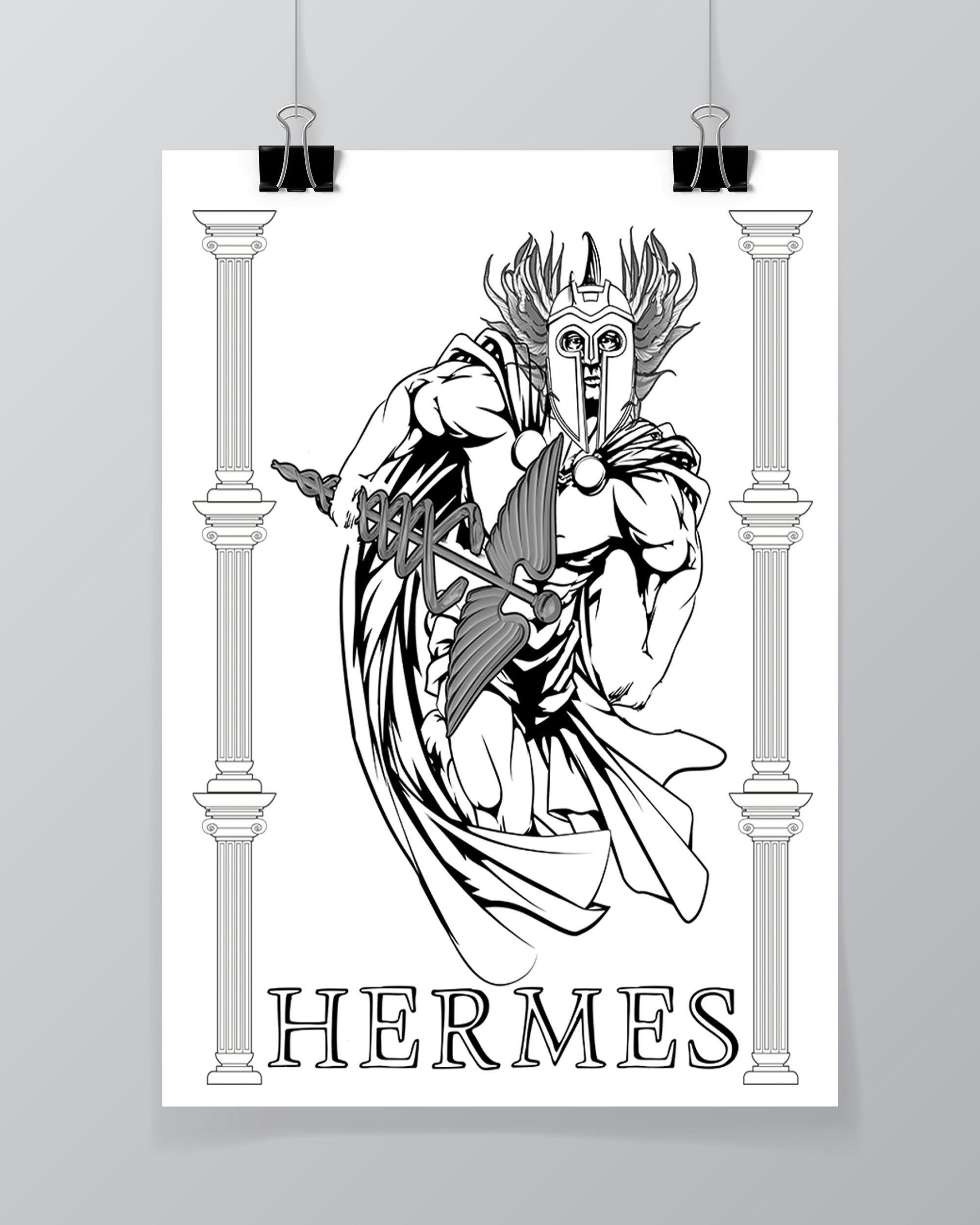 Hermes Greek God Greek Mythology Printable Wall Art Room Etsy Greek Mythology Gods Greek Gods Printable Wall Art