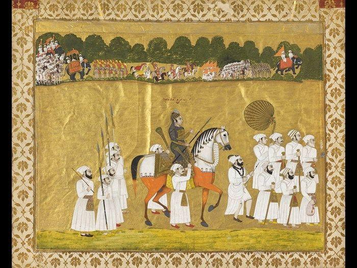 Siraj ud-Daulah rides off to war. battle of Plassey. miniature painting