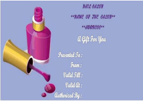 Nail Salon Gift Certificates Template