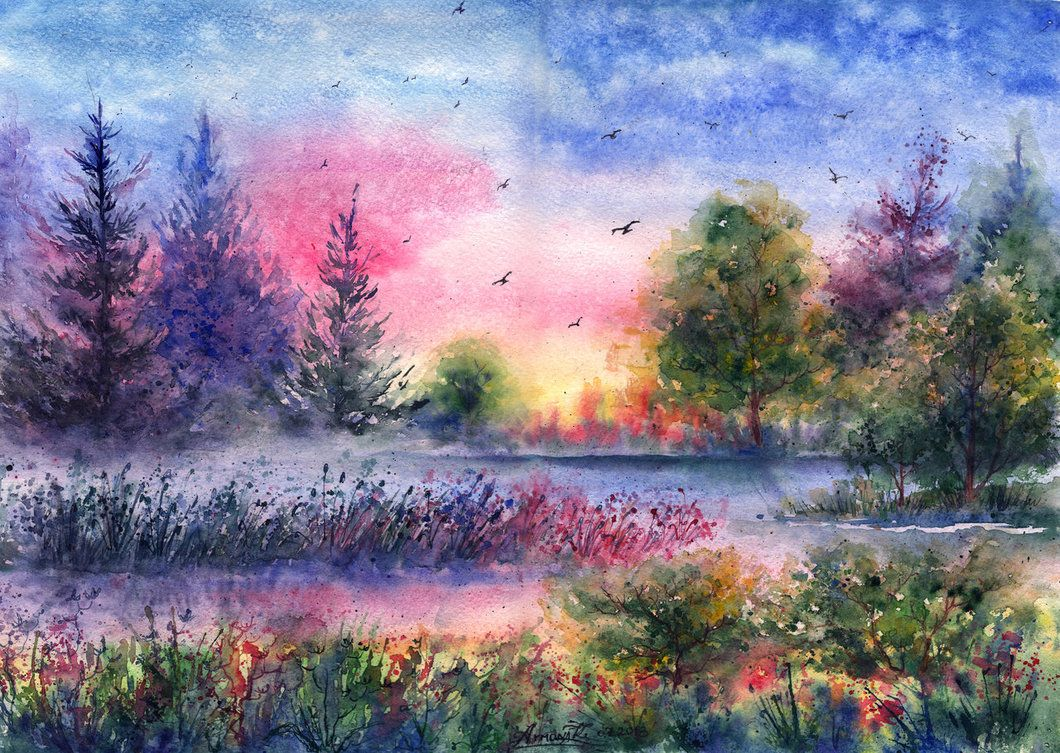 Красивые пейзажи картинки акварель