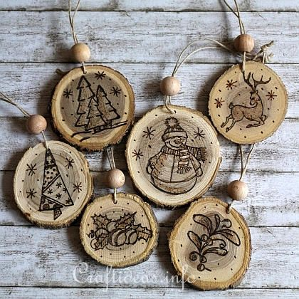 Wood Crafts For Christmas Wood Burned Christmas Ornaments From Wooden Branch Slices Christmas Wood Christmas Wood Crafts Christmas Ornaments
