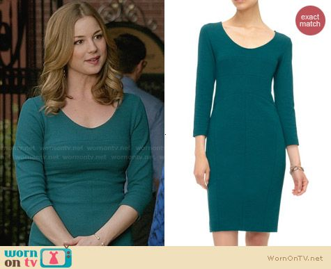 Emily s teal green three-quarter sleeve dress on Revenge. Outfit Details   http  8be9ab726