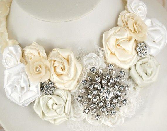 Satin flower statement necklace.