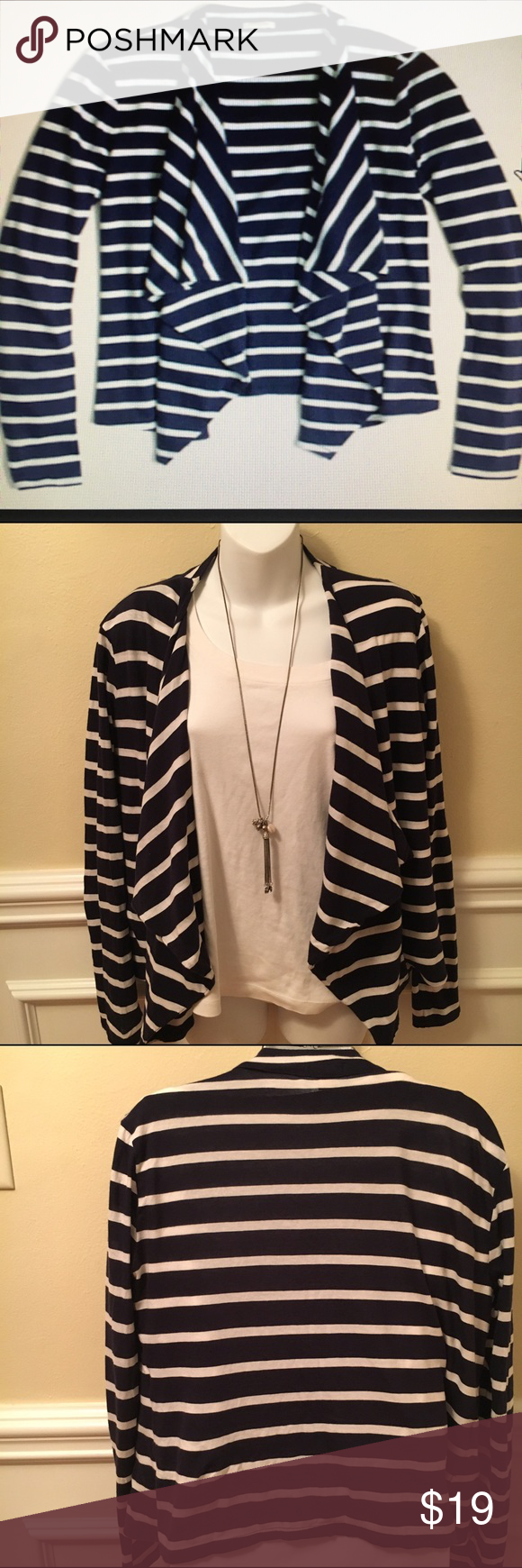 J.Crew size S navy/white striped cardigan JCrew nautical ...