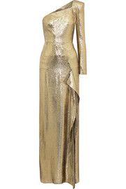 Galaham one-shoulder silk-blend lamé gown