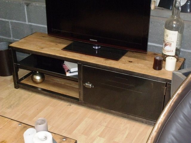 inspirant meuble tv bois metal pas cher d coration fran aise pinterest meuble tv bois. Black Bedroom Furniture Sets. Home Design Ideas