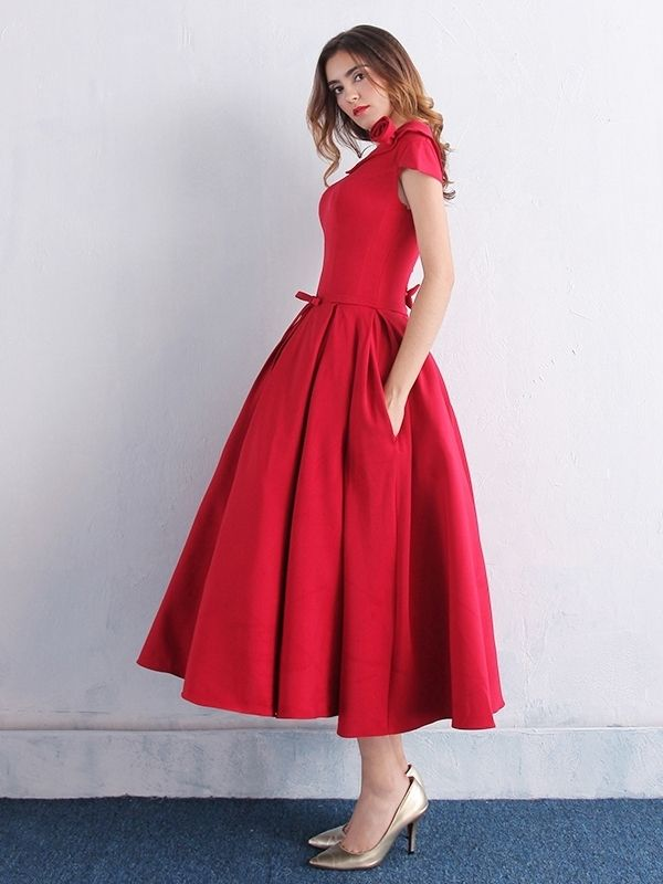 f0c2d9cd1e9 Simple Scoop Neck Bowknot Pockets Tea-Length Prom Dress  Dress  Women