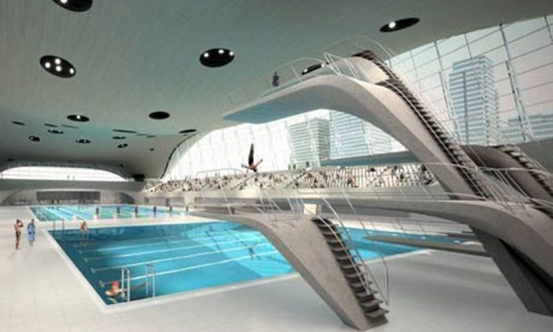 Olympic aquatic center in london summergames architecture uk
