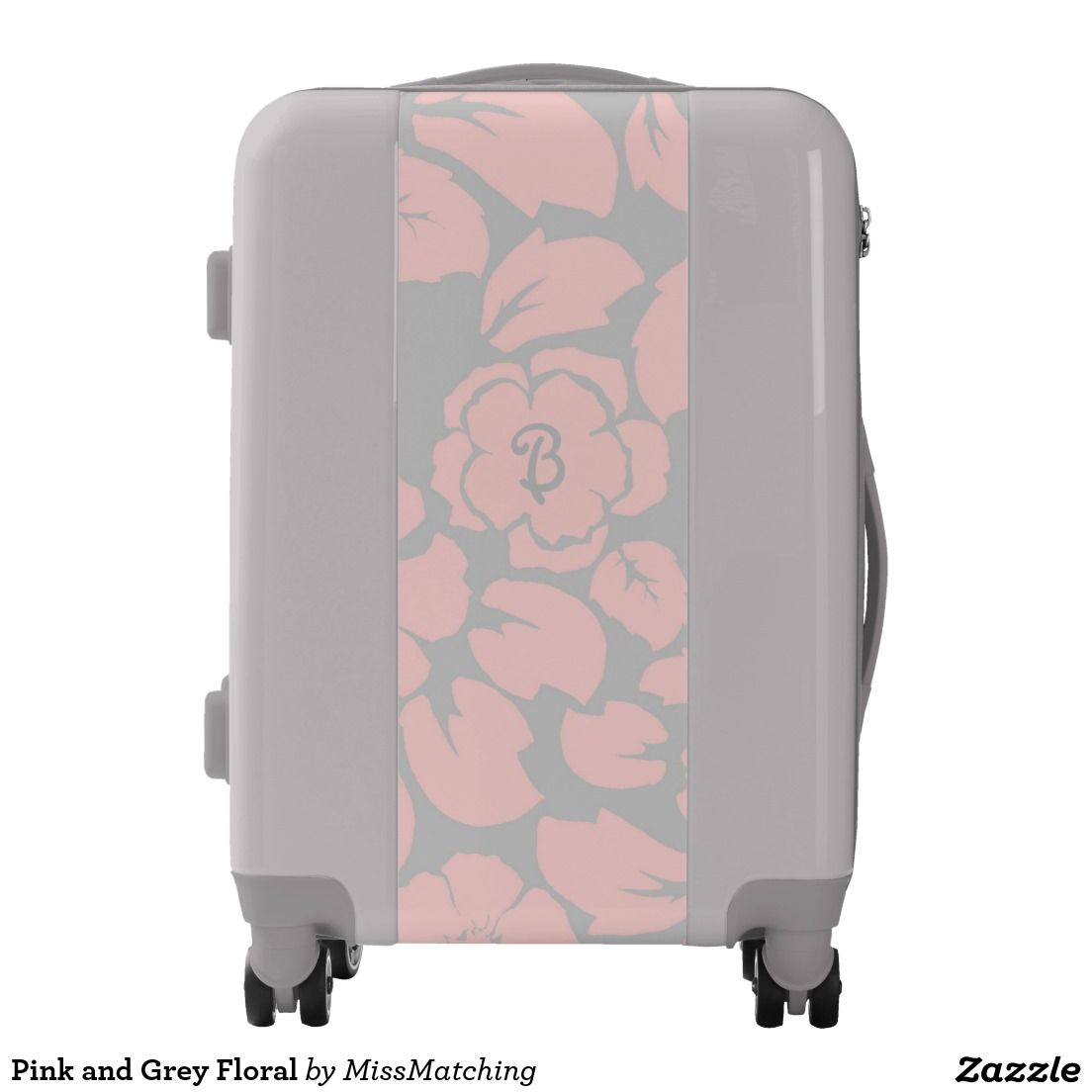 Pink and Grey Floral Elegant Personalized Luggage