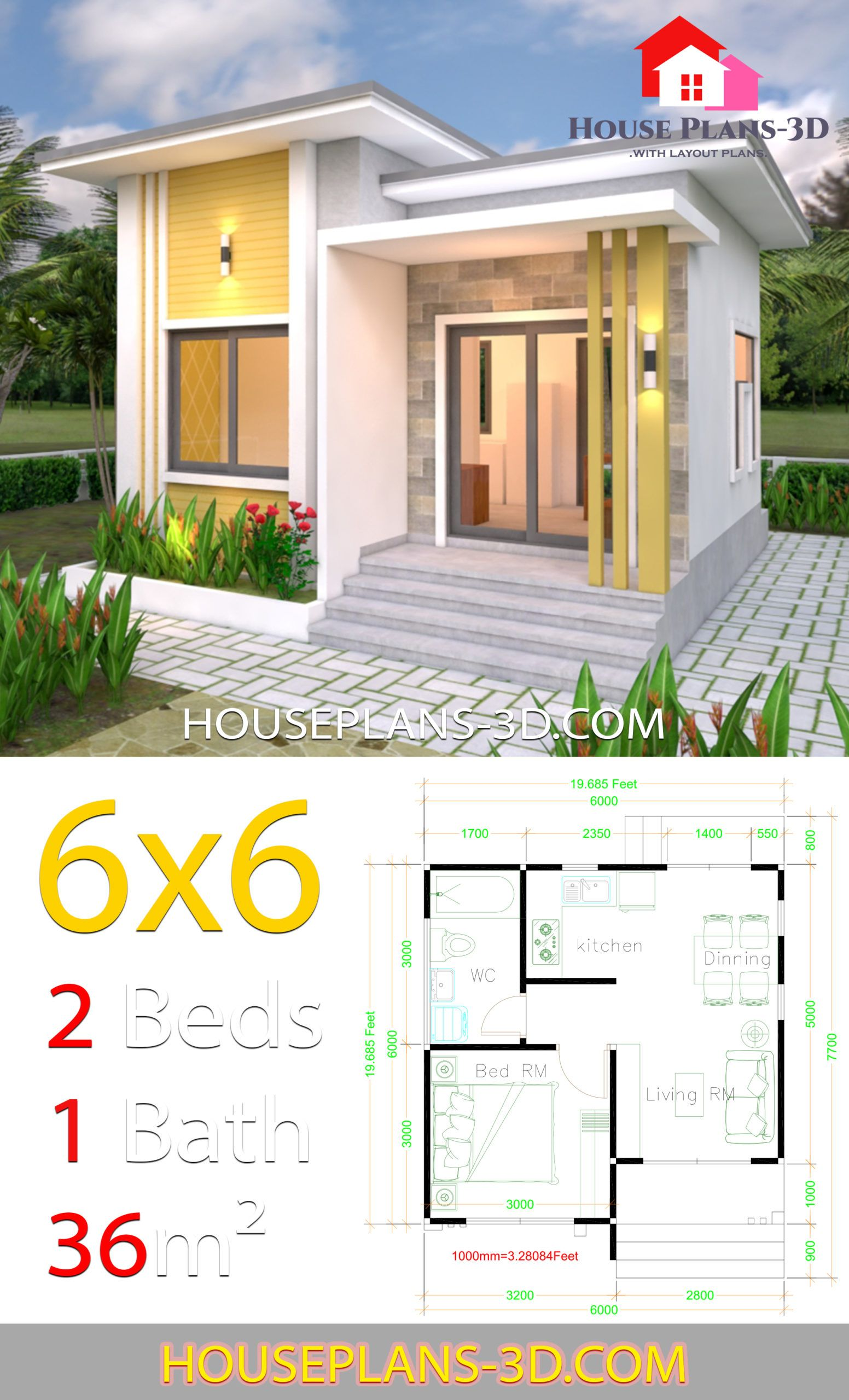 House Plans 6x6 With One Bedrooms Flat Roof House Plans 3d In 2020 Small House Layout Simple House Design House Plans