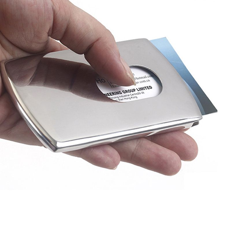 Portable Hand-push type Stainless Steel Business card holder wallet ...