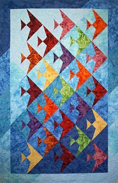 A Quilted Ocean Of Fin Fully Easy Fish Fish Quilt Pattern Fish