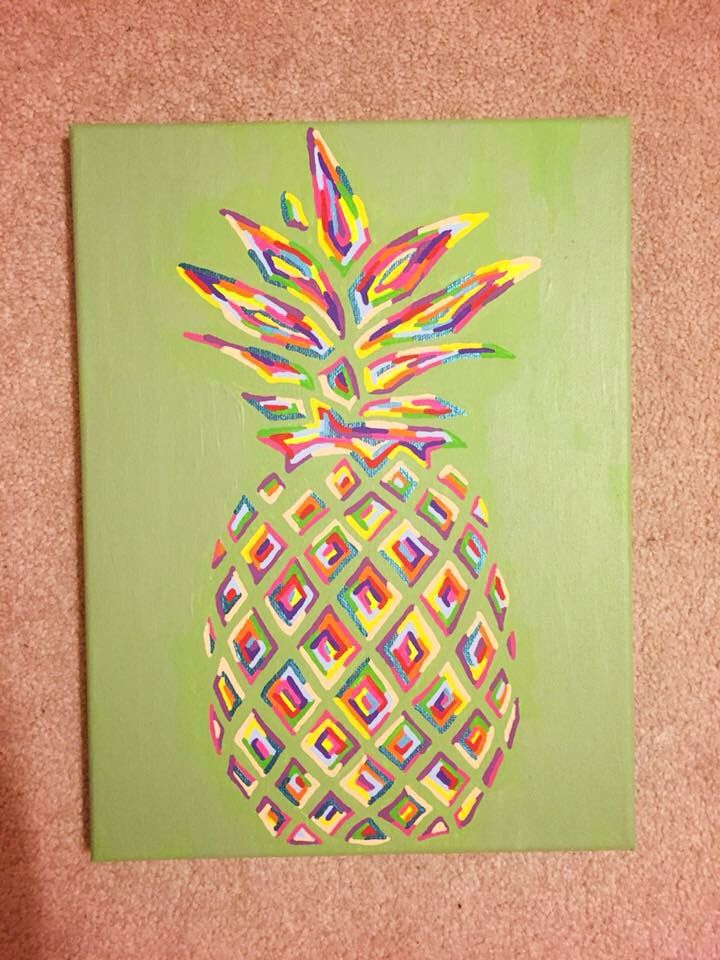 fascinating Easy Canvas Art Projects Part - 14: pineapple canvas More. pineapple canvas More Diy Art ...