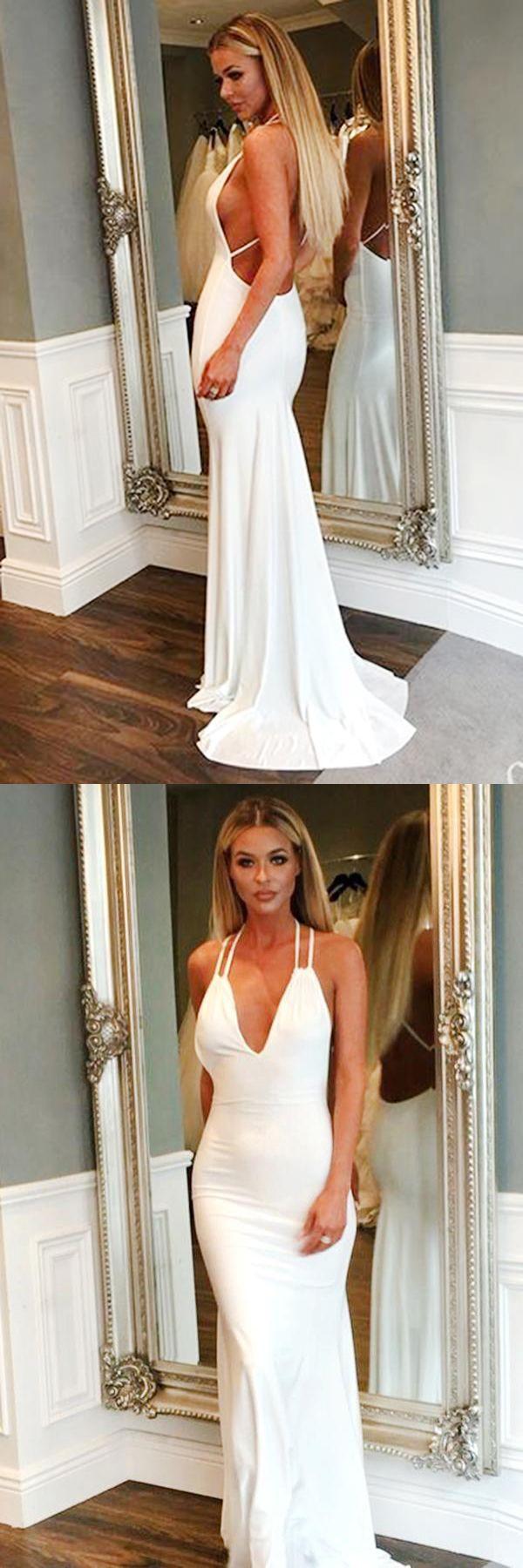 Mermaid white simple cheap long backless prom dresseswomen dresses