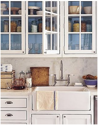 Don't Usually Love Glass Doors But A Few With A Painted Interior Entrancing Paint Inside Kitchen Cabinets Decorating Design