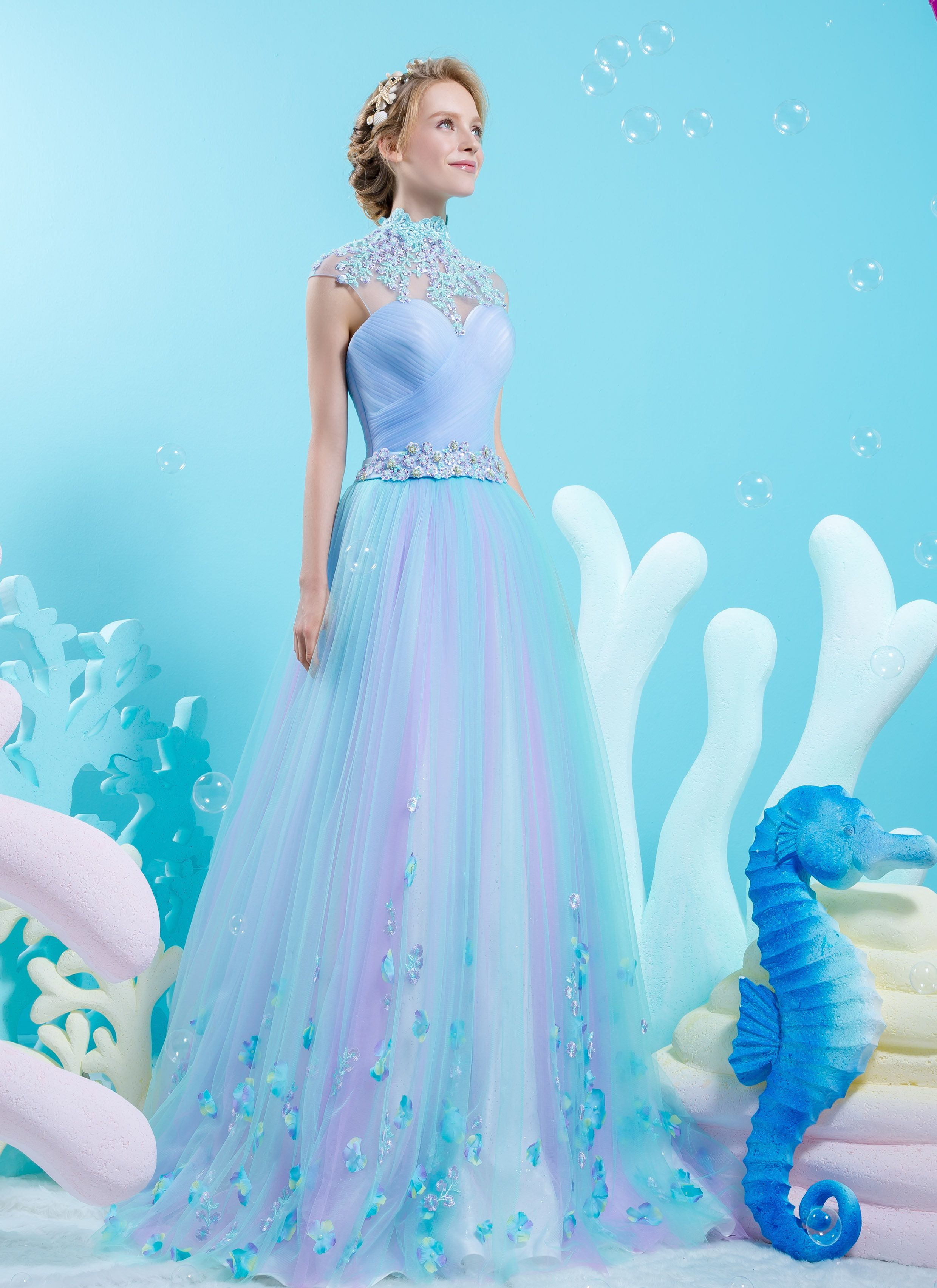 Ornate high neck A-line gown in cotton candy color | Wedding Dresses ...