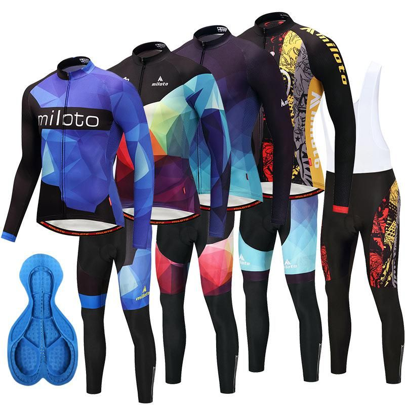 Mens Thermal Fleece cycling jersey long sleeve Bib pants set Cycling Bib Pants
