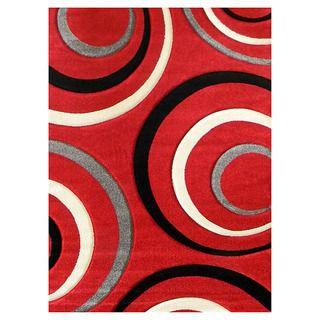 Studio 605 Geometric Design Red Area Rug Add