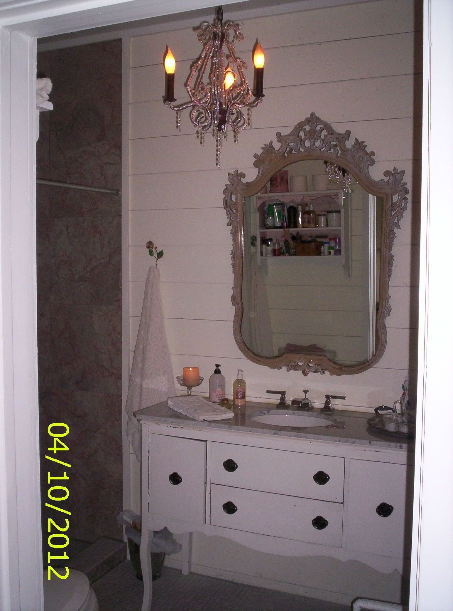 Bathoom Vanity Isa Repurposed Dining Room Buffet Topped With Marble Vintage Mirror Contrasts A