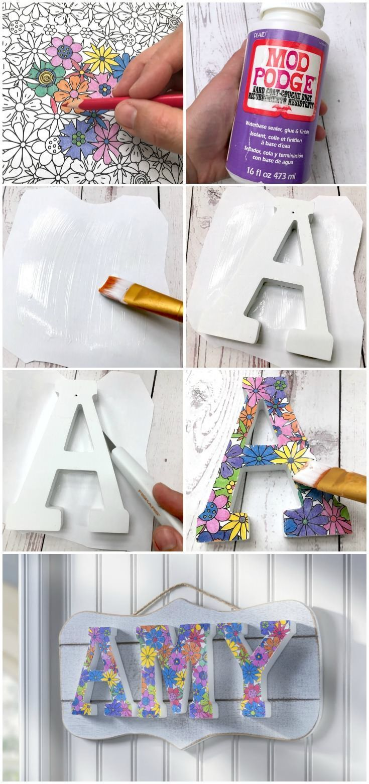 Unique Coloring Book DIY Name Plaque Diy crafts for