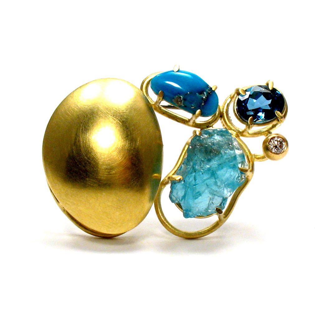 Joanna Gollberg, Gold Brooch with Prong-Set Gemstones, 18-karat ...