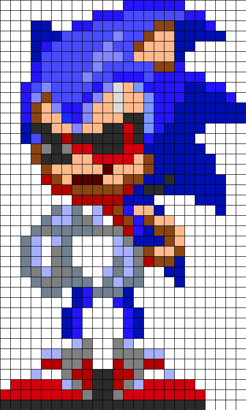 Sonic EXE Play With Me Perler Bead Pattern / Bead Sprite