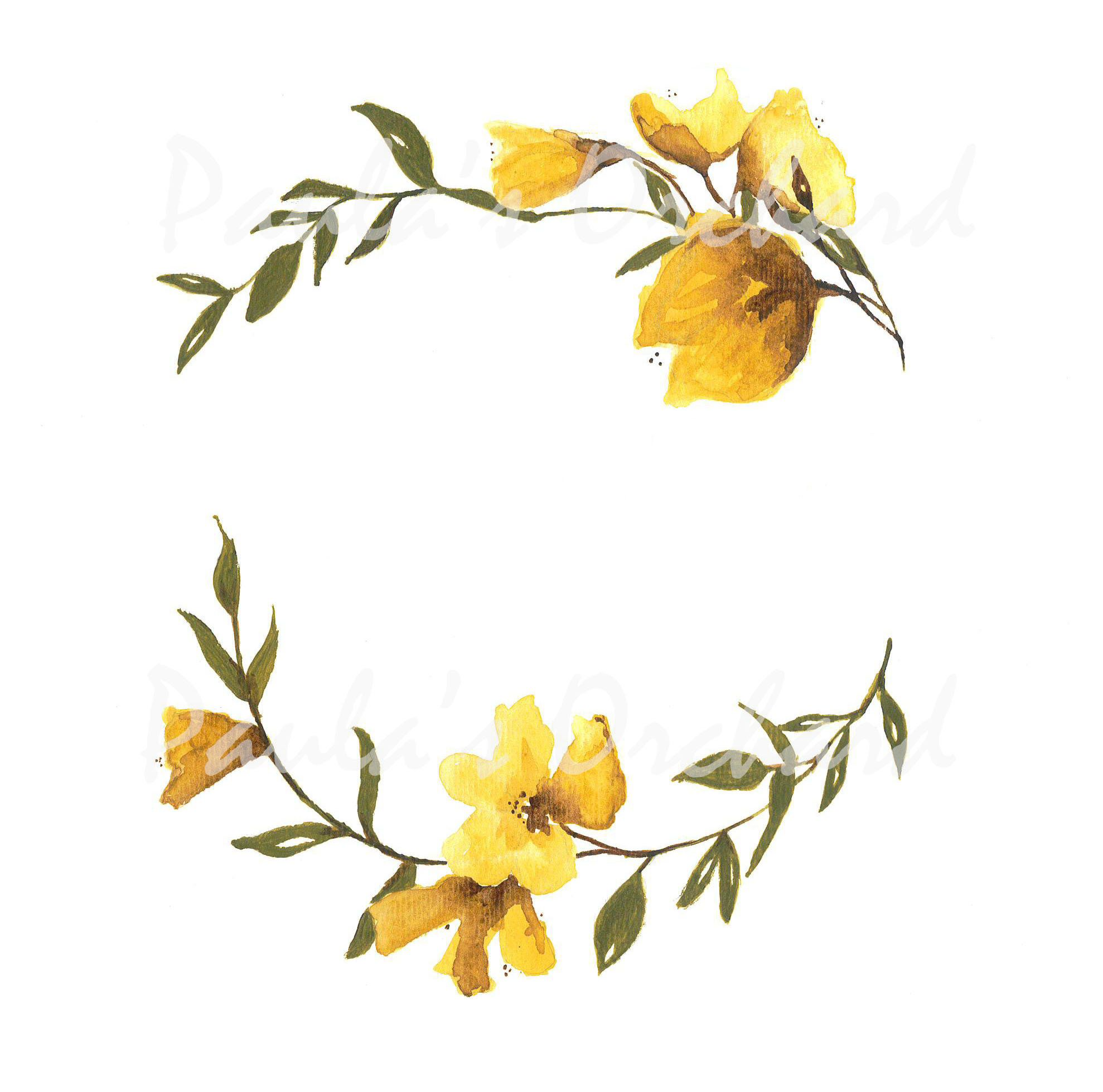 Photo of Yellow Flower Wreath Watercolor – send me a message if you want a saying or a name inside it.