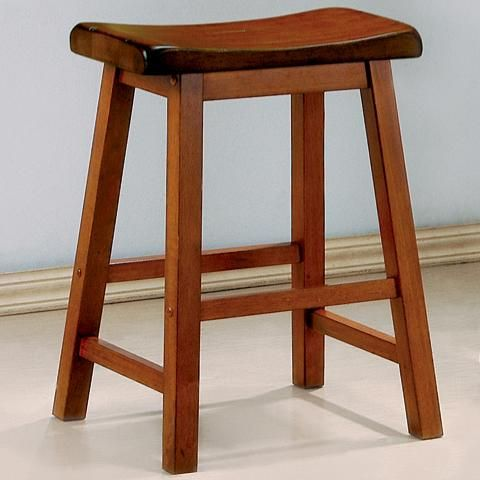 24 Inch Oak Heavy Backless Bar Stool Set Of 2 By Coaster Www