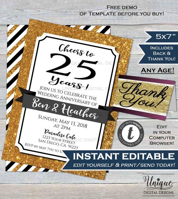 25th Anniversary Invitation Twenty Wedding Silver 25 Year Surprise Party Invite Custom P