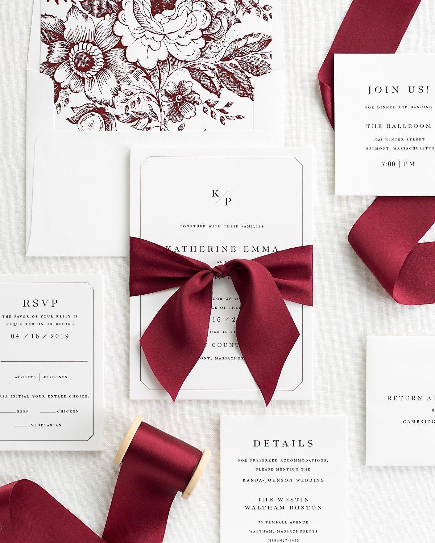 Katherine Ribbon Wedding Invitations In 2020 Wedding Invitation Ribbon Wine Red Wedding Wedding Invitations