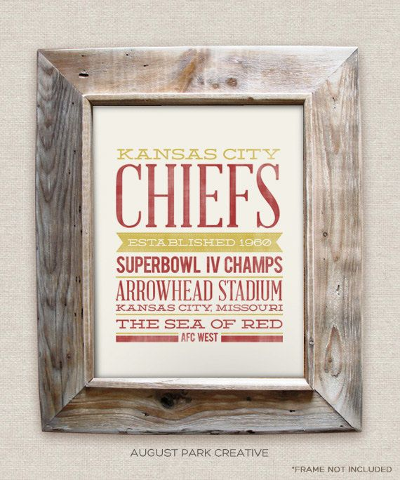 Kansas City Chiefs 8x10 Rustic Vintage Style By AugustPark