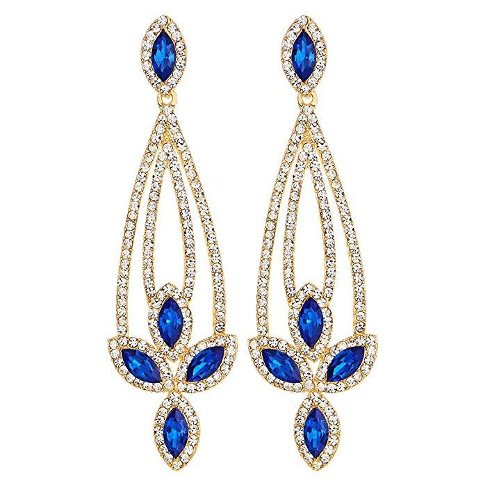 71612ee91 Party Prom Banquet Rhinestone Blue Crystal Chandelier Floral Long Dangle  Statement Earrings Gold