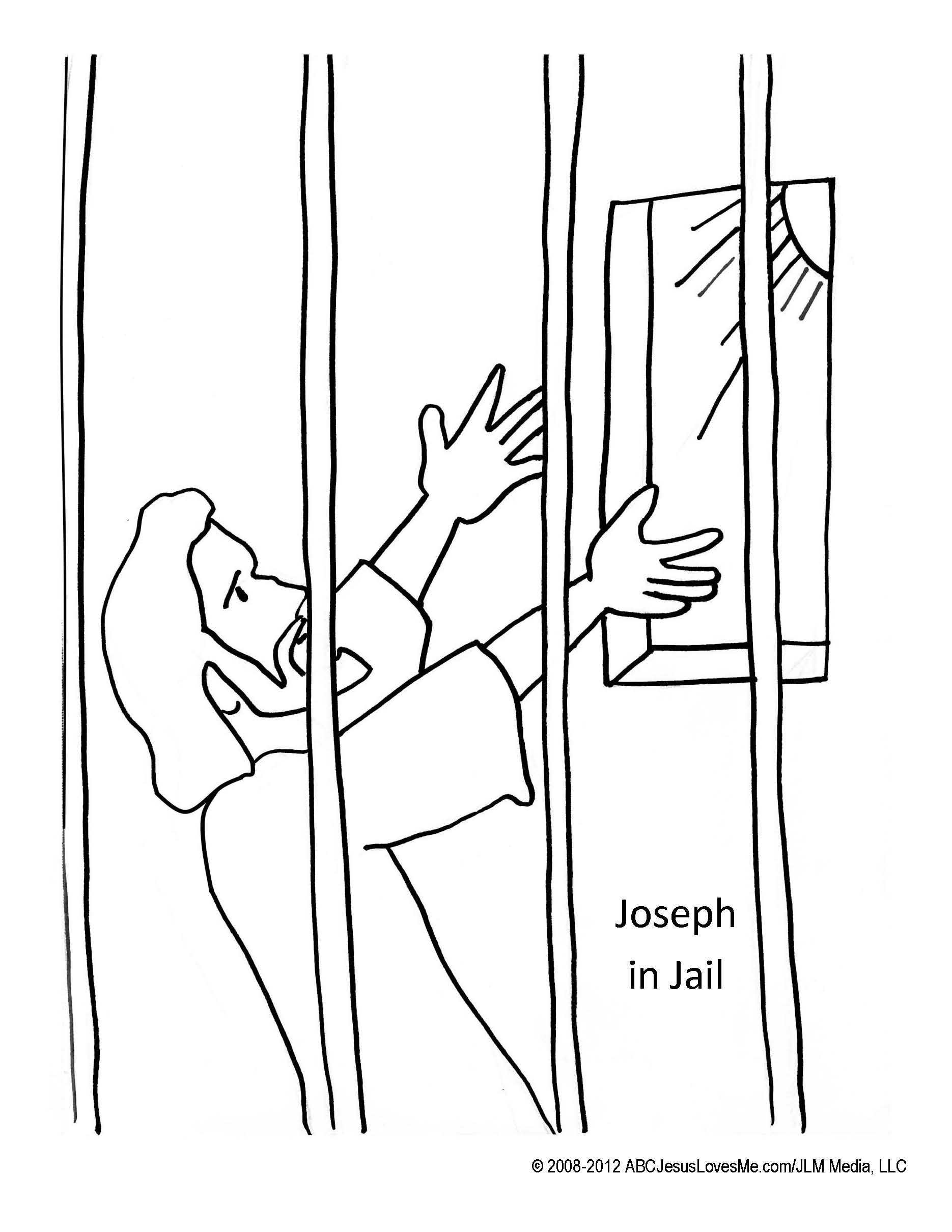 May 17 18 joseph in jail glue paper onto bars for Joseph in jail coloring page