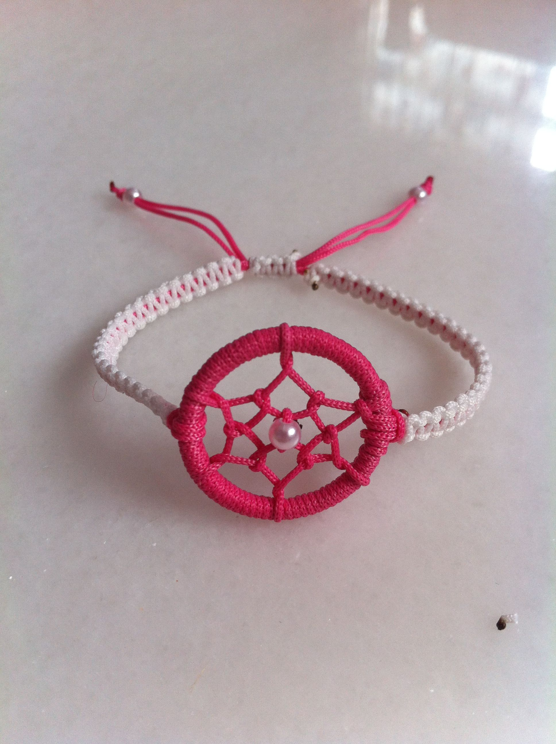 Light Pink And Dark Red Dream Catcher Bracelet Instead Of Chain It Twisted Thing Strings To Hang On Wrist