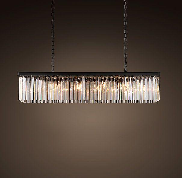Rhys Clear Glass Prism Rectangular Chandelier 40 Ceiling