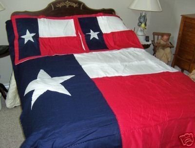 White Blue And Red Texas State Flag Cotton Comforter Quilt
