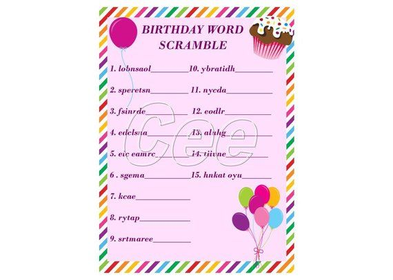 image relating to Printable Party Games named Birthday Occasion Video game, Get together Recreation For Lady, Printable Birthday