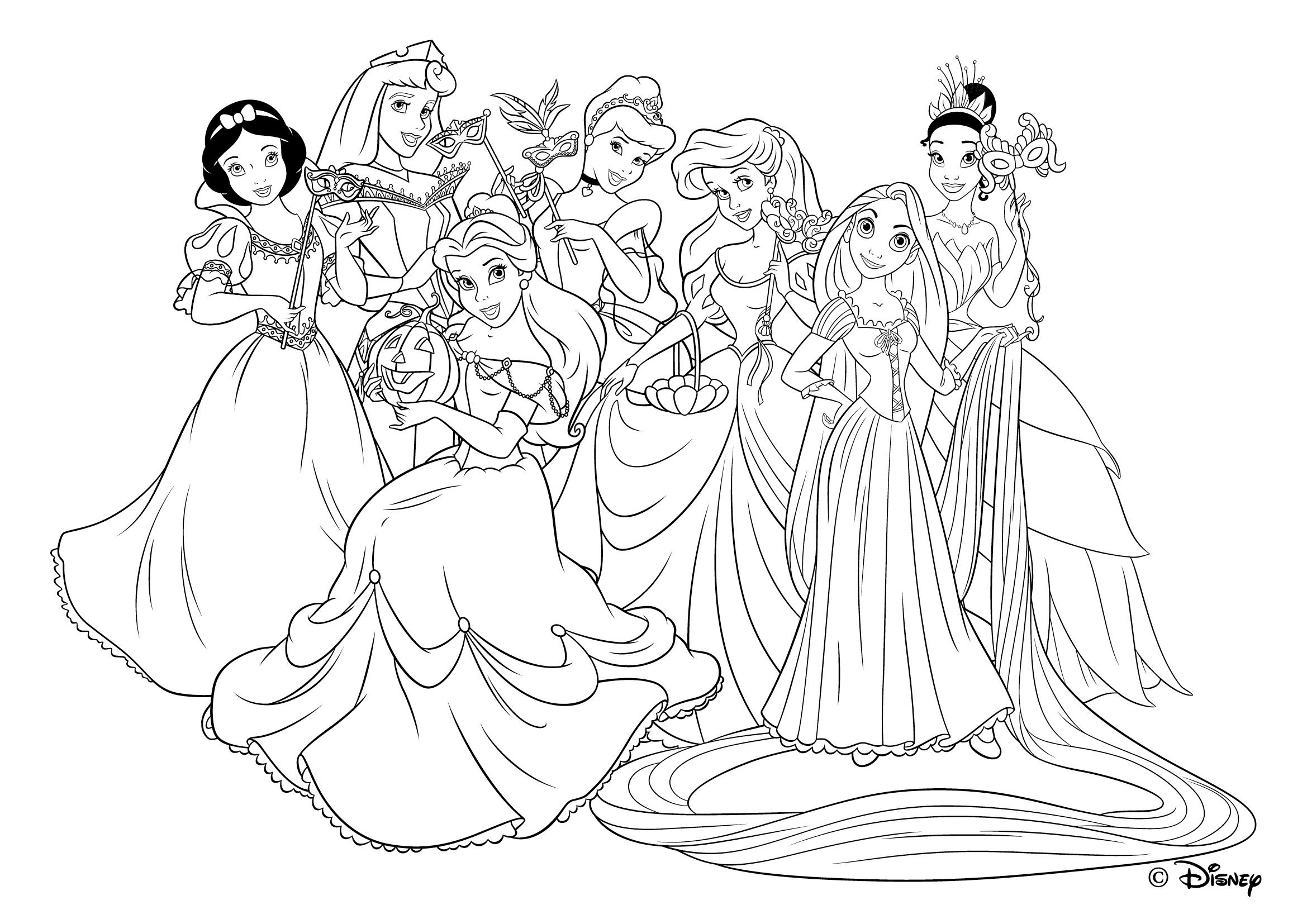Luxe Dessin Coloriage Princesses Disney