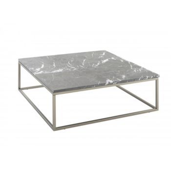 Table Basse Carrée 100x100 Cm Métal Marbre Gris Coffee Table En