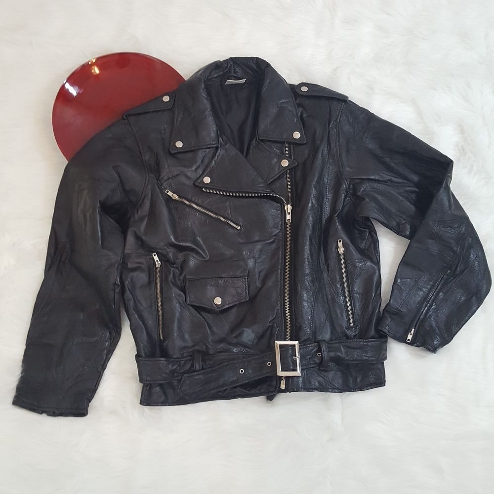 Flight Path Mens Leather Motorcycle Jacket Size Small Zip Front