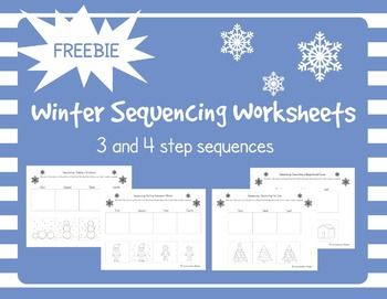 FREE Winter and Holiday Sequencing Cut and Glue Worksheets - free speech therapy language activity